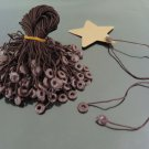 100pcs Brown Hang Tag String with Round  Plastic Fastener