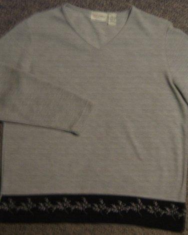 CLASSIC ELEMENTS * Petite Womens Sz LARGE gray casual SHIRT