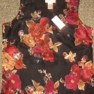 NWTS * DRAPERS & DAMONS * Womens sz SMALL black floral dressy tank top SHIRT