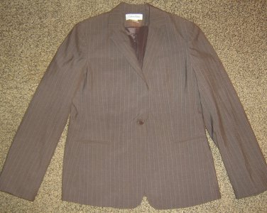 CALVIN KLEIN * Womens sz 12 brown pinstriped career Blazer Jacket coat