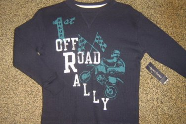 "NWTS * FADED GLORY * Boys sz 4 5 X-SMALL Blue thermal ""OFF ROAD RALLY"" Shirt"