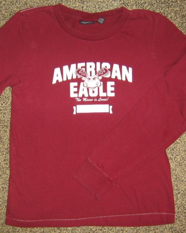 AMERICAN EAGLE * Womens sz MEDIUM maroon Bobsled Team logo casual SHIRT
