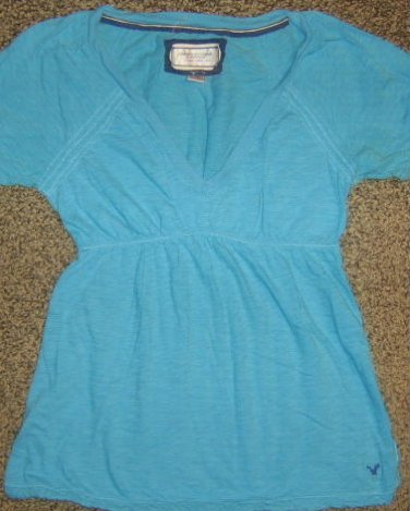AMERICAN EAGLE * Womens sz X-SMALL XS blue casual SHIRT