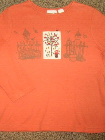 BRECKENRIDGE * Petite Womens Sz MEDIUM orange fall themed casual SHIRT