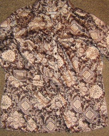 NWTS CROFT & BARROW * Womens sz LARGE black blouse career button down SHIRT