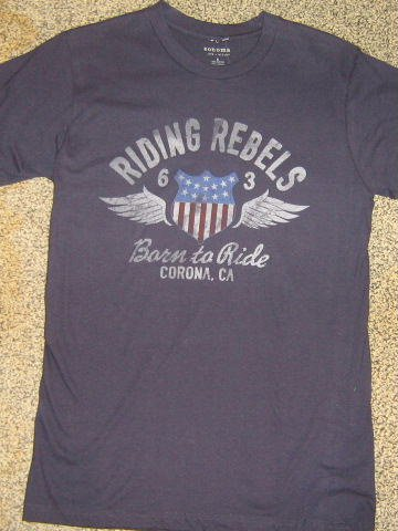 NWTS * SONOMA * Mens sz SMALL blue graphic Riding Rebels tee Shirt