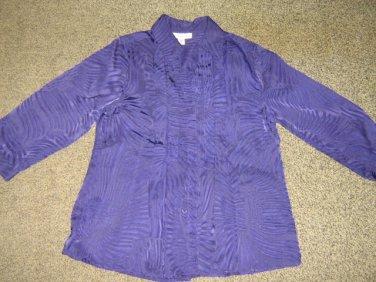 COLDWATER CREEK * Womens sz SMALL sheer purple button down SHIRT