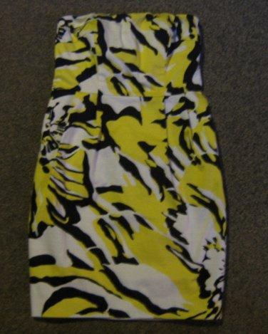 EXPRESS * Womens sz 4 Colorful white yellow & black strapless party Dress
