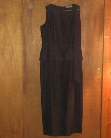 MARK SHALE * Womens sz 12 sexy dark gray full length formal party gown Dress