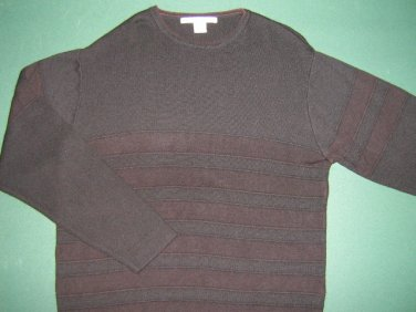 PERRY ELLIS * Mens sz LARGE casual  Black SWEATER Shirt