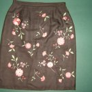 Casual Corner womens sz 4  X Small XS  brown floral 100% silk mini skirt