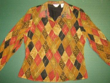 LAURA ASHLEY * Petite Womens 8 8P SMALL silk button down brown blouse shirt top