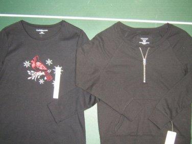 NWTS Sonoma Croft & Barrow petite womens x-small XS black sweatshirt shirt lot