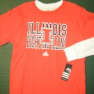 NWTS Adidas Boys sz 18 X Large XL orange Illini long sleeve cotton tee shirt