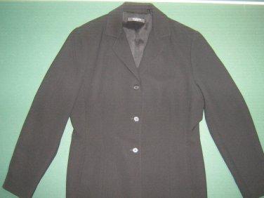 TAHARI petite womens sz 8 8P solid black career 100% polyester blazer jacket