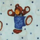 BTY PEEK-A-BOO BEAR ON BLUE SPRINGS COTTON FABRIC