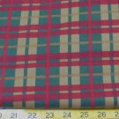 "2-7/8 YDS  DK RED/GREEN PLAID PRINT 1 SIDE COTTON FLANNEL FABRIC 43"" 360737623345"