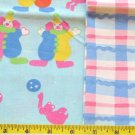"3.4 yds BLUE CIRCUS CLOWNS PRINT PINK/BLUE PLAID BUNDLE  COTTON FABRIC 43"" 380766649552"