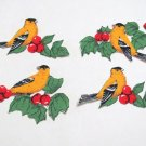 "4 PCS GOLDFINCH BIRD APPLIQUES 3-1/4""cotton fabric W/FUSIBLE TO IRON ON 36041139145"