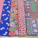 "4-1/2  YARD RED & BLUE CHRISTMAS PRINTS BUNDLE COTTON FABRIC  43"" 360810168295"