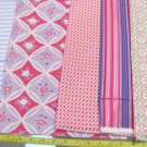 "4-1/3  YARD OF LILAC STRIPE,  PINK CHECK, PINK/BLUE FLORAL COTTON FABRIC  43"" 380790599457"