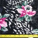 4-7/8 YDS, BLACK WITH MAGENTA ROSES, HEAVY SATIN JACQUARD DRESS FABRIC POLY 58""