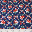 BTY RED FLORAL ON BLUE  FEEDSACK LINE ALL COTTON FABRIC BLANK QUILTING