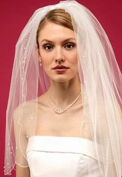 White Pearl Beaded Bridal Veil 2Tiers Fingertip on CLEARANCE