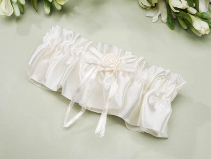 Ivory Satin Garter Bagged With Header