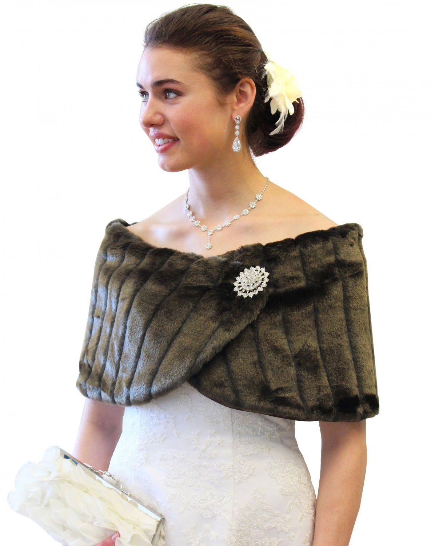 Sable Faux Mink Wedding Wrap 306NF-SABLE