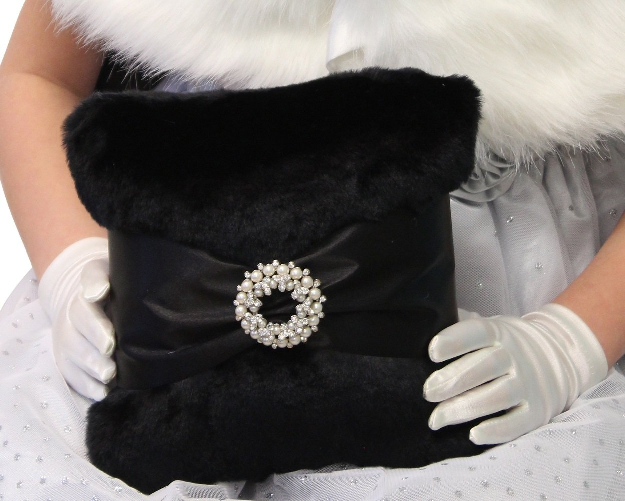 Black Faux Fur Ring Bearer Pillow