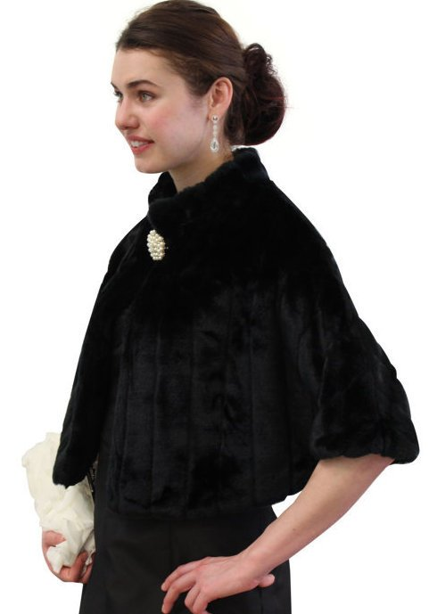 Black Faux Fur Pelted Mink Cape