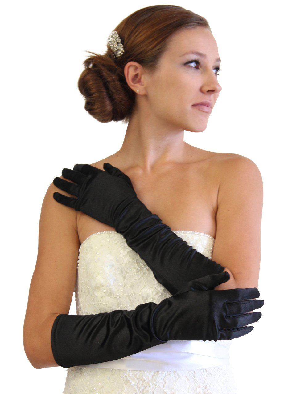 Black Satin Gloves - Below Elbow Length