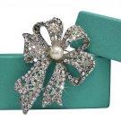 Bridal Crystal and White Pearl Brooch Pin