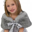 Chinchilla Grey Girls Child Faux Fur Shawl