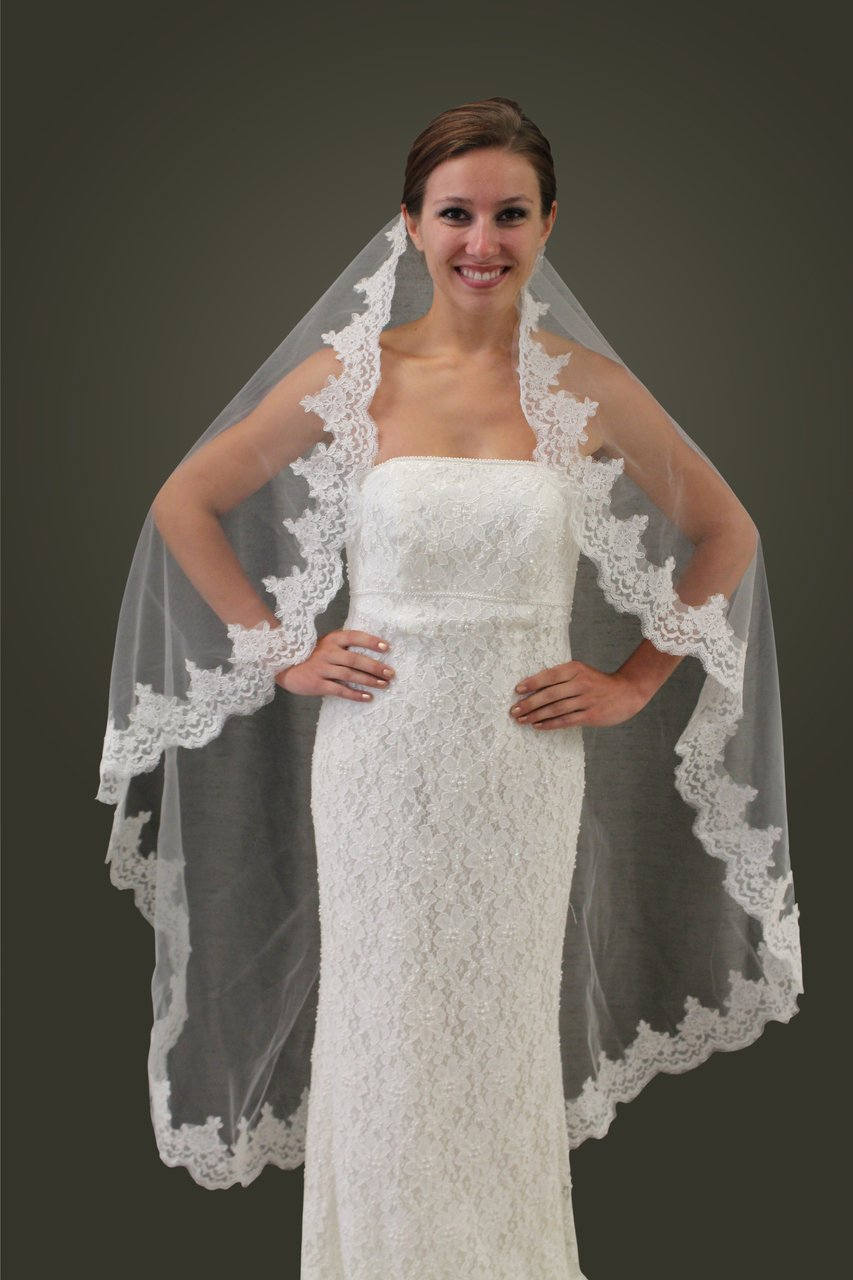 "Ivory Alencon Lace One Tier 65"" Bridal Wedding Veil"