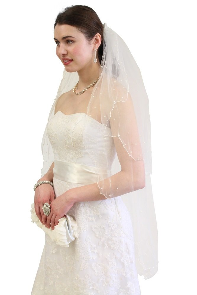 Ivory Beaded Pearl Wedding Veil 2T