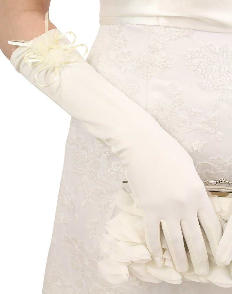 Ivory Bows Satin Gloves - Below Elbow Length