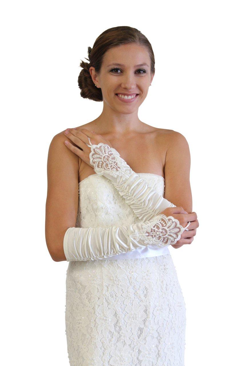 Ivory Embellished Lace Gauntlet Glove