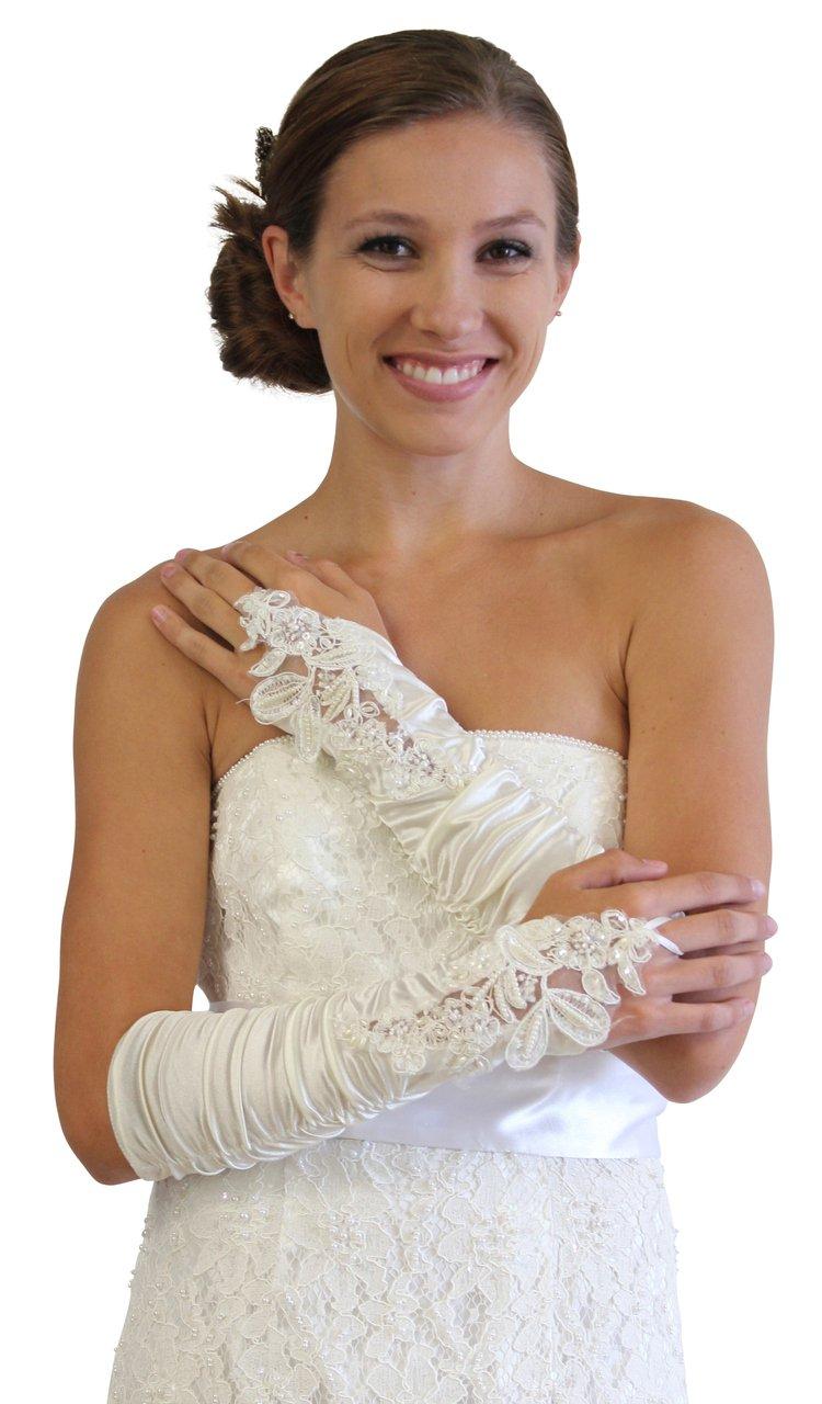 Ivory Embellished Lace Gauntlet Glove P02