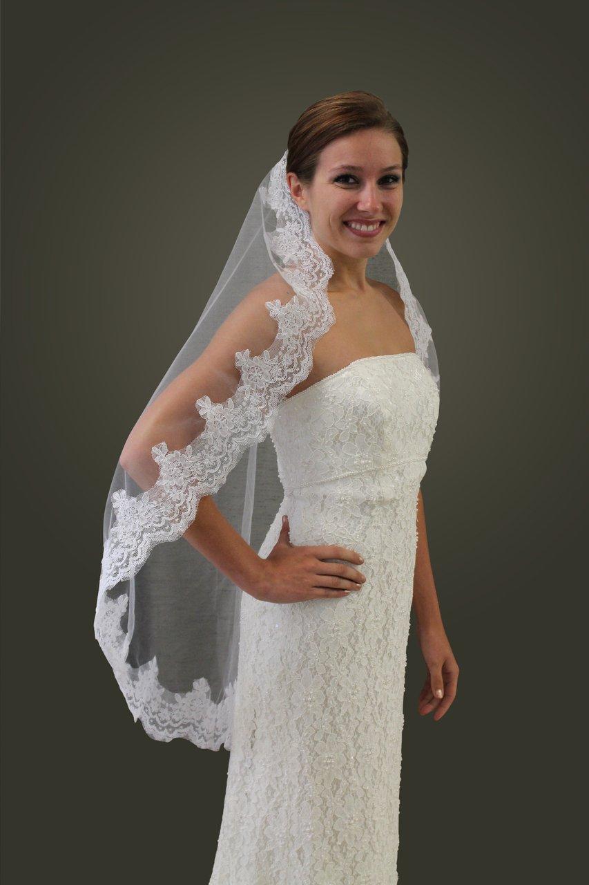 White Wedding Veil Satin Trim 2T #343R