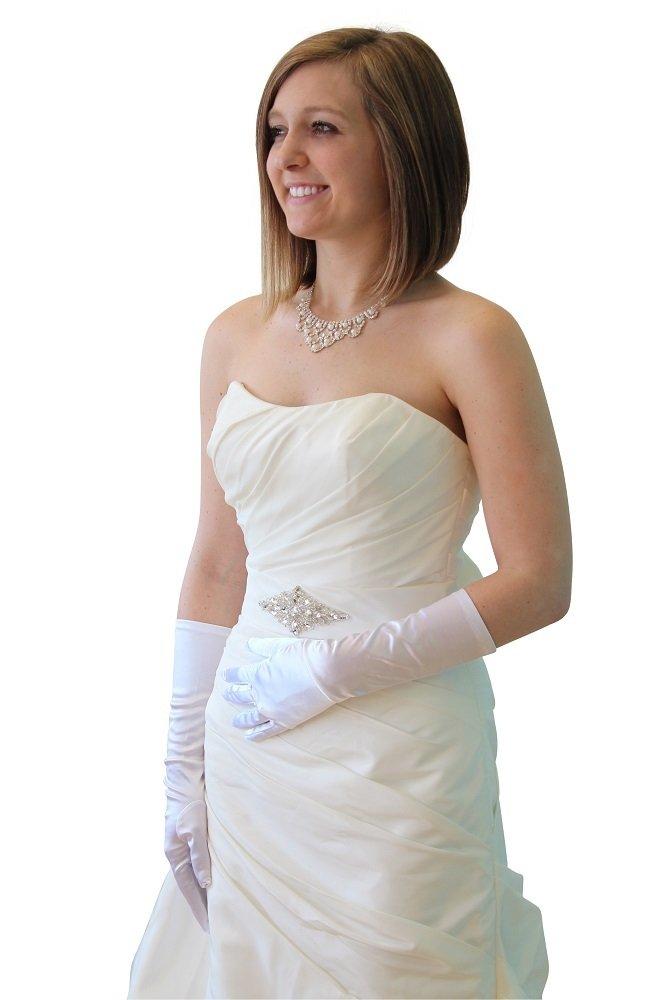 White Satin Gloves - Below Elbow Length