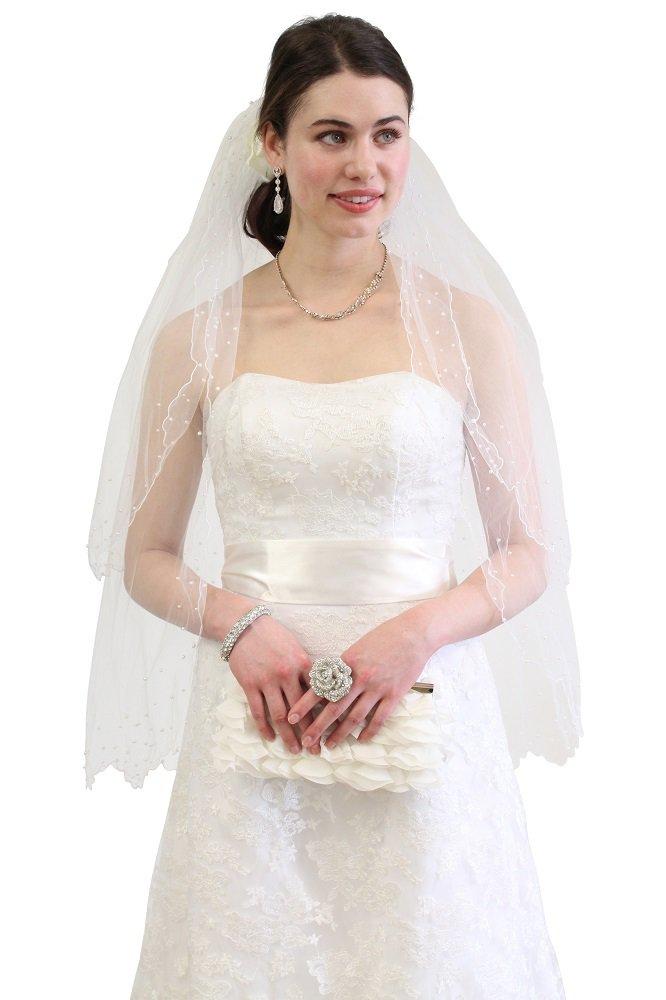 White Pearl Beaded Bridal Veil 2T
