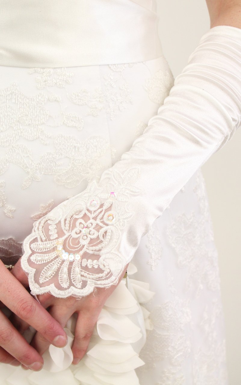 White Embellished Lace Gauntlet Glove