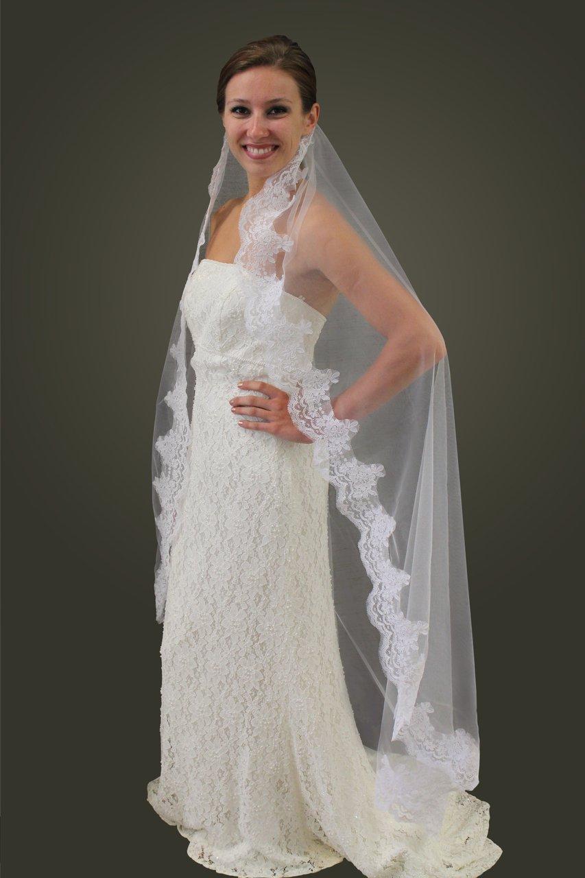 "White Alencon Lace 68"" Bridal Veil #80273-WHI"