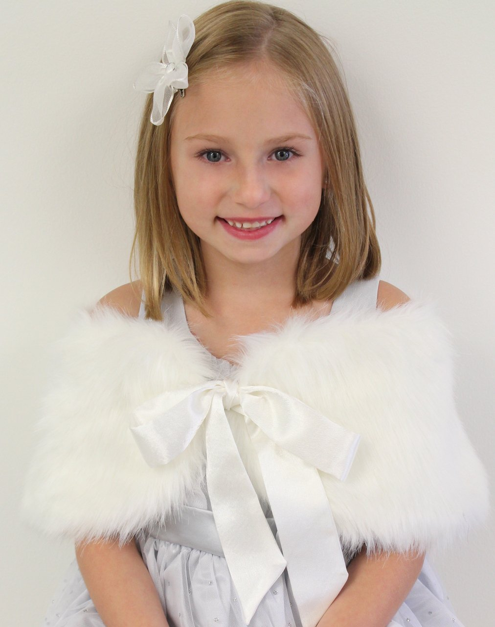 Ivory Girls Child Faux Fur Shawl