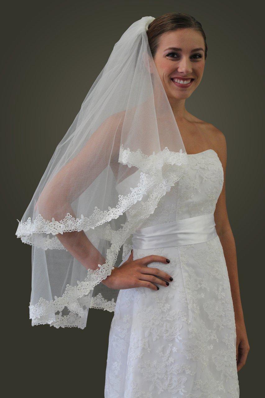 Ivory Lace Trim Bridal Veil #80270-IVY