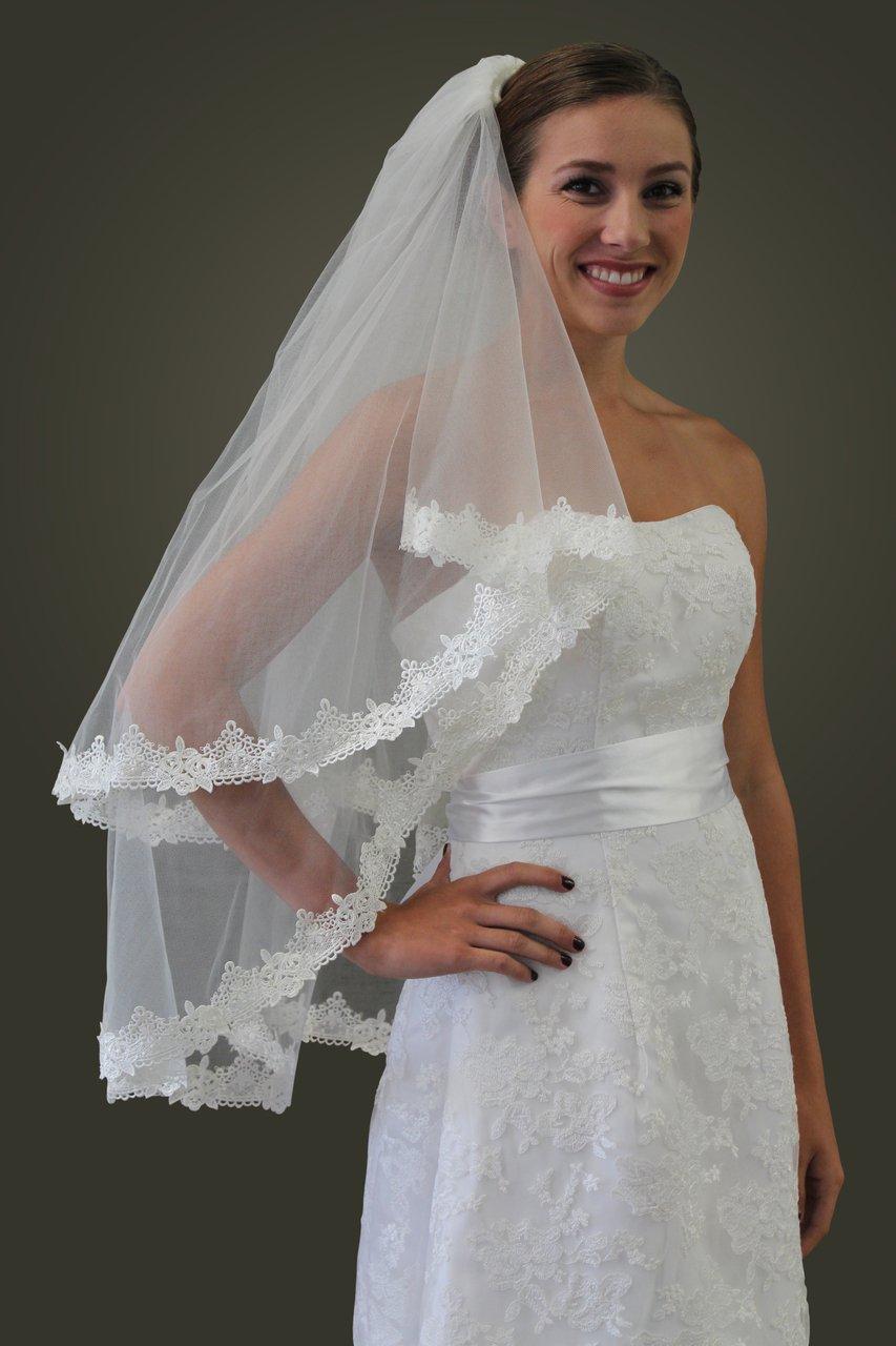 "Ivory Sequin Pearl Alencon Lace 65"" Bridal Veil"