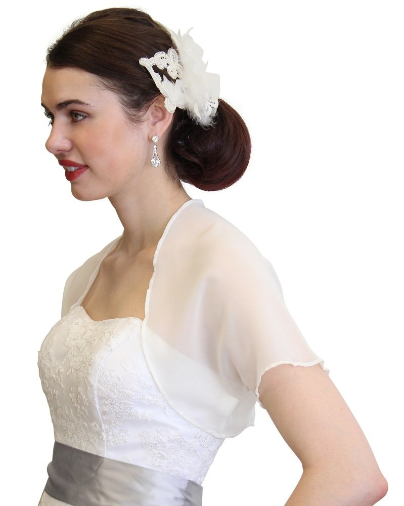 TIon Bridal Ivory Chiffon Bolero With Short Sleeve