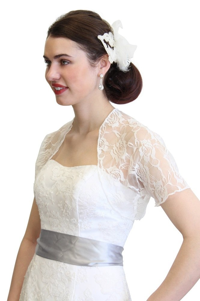 Tion Bridal Ivory Lace Bolero With Short Sleeve 720ROS-IVY